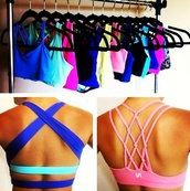 tank top,colorful,sportswear,bra,running crop tops colourful,blue,sports bra,nike sportswear,workout,underwear,girl,girly,blue sports bra,neon sports bra,sports top,shirt,neon,criss cross,back,criss cross back,gym,comfy,swimwear,nike,workout sports bra,crisscrossed,bright,top,gym clothes,pink,cross