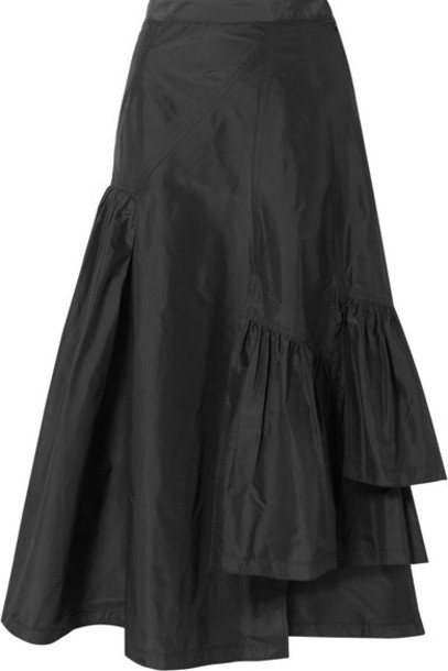 3.1 Phillip Lim - Asymmetric Ruffled Silk-taffeta Midi Skirt - Black
