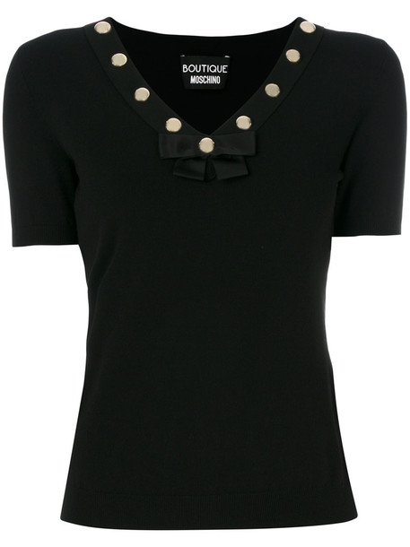 BOUTIQUE MOSCHINO top studded women v neck black
