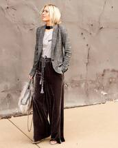 pants,tumblr,wide-leg pants,velvet,velvet pants,t-shirt,grey t-shirt,blazer,grey blazer,bag,chain bag,handbag,furry bag,black choker,choker necklace,work outfits,elegant,wide-leg velvet pants,black wide-leg velvet pants