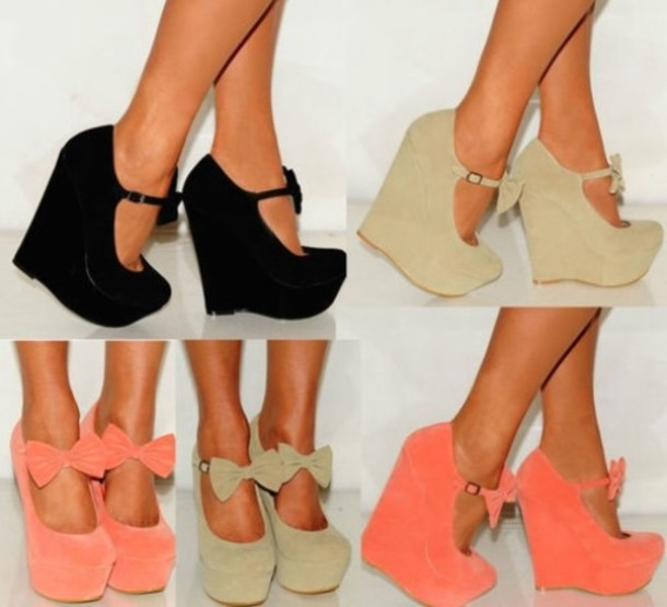 Shoes: peach, coral, beige, heels, wedges, bows, spring, funny ...