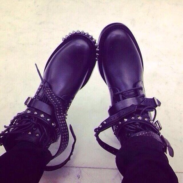 shoes boots studded biker boots