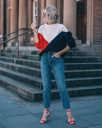 sweater knit blue jeans red sandals knitwear knitted sweater multicolor jeans denim sandals sandal heels