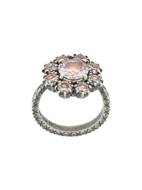 women ring silver grey metallic jewels