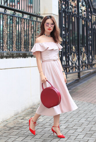 mellow mayo blogger sunglasses dress bag shoes top pants skirt midi dress round bag pink dress summer dress off the shoulder dress pumps summer outfits