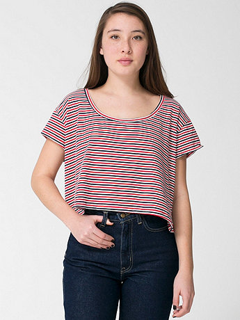 Striped Loose Crop Tee | American Apparel