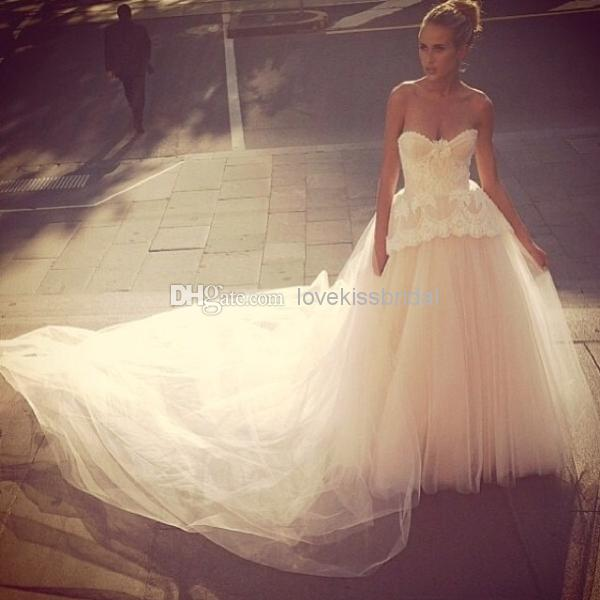 Wholesale Sex Tulle Prom Dresses - Buy 2015 Sweetheart Backless Tulle Wedding Dresses Applique Peplum Lace A-Line Chapel Train Long Prom Bridal Gown Custom Made $184.3 | DHgate