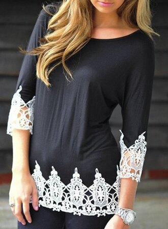 top lace black fashion fall outfits style white casual cute long sleeves