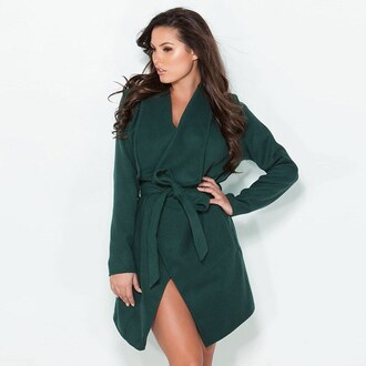 jacket coat winter outfits winter sweater winter coat green huntergreen deep green trench coat short trench gojane 36683