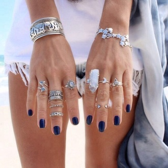 jewels ring crystal fashion style silver gypsy knuckle ring jewelry stars summer