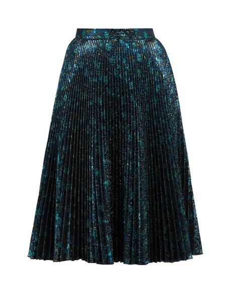 Prada skirt pleated skirt pleated jacquard blue