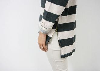 shirt stripes blue and white blue white horizontal sweater clothes zip black