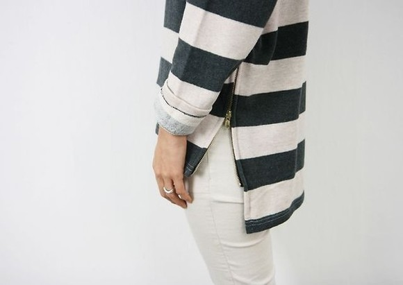 shirt striped blue and white blue white horizontal stripes sweater clothes zipper black, white, stripes, zipper,