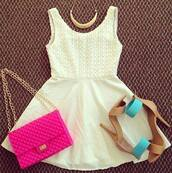 dress,white dress,bag,casual,lovely,girl,like,white,shopping,high heels,jewels,shoes,cute,one strap,short dress,prom dress,sexy dress,sexy,heels,necklace,aquamarine,pink,gold,creme dress