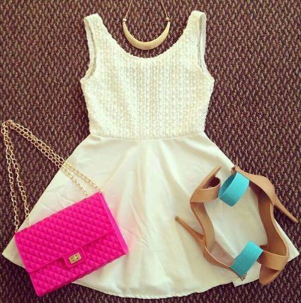dress white dress bag casual lovely girl like white shopping high heels jewels shoes cute one strap short dress prom dress sexy dress sexy heels necklace aquamarine pink gold creme dress