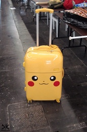 bag,pokemon,pikachu,suitcase,travel,luggage,airplane,kawaii,yellow,electric,yellow suitcase