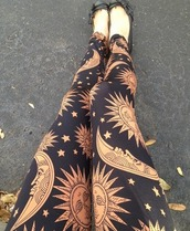 leggings,moon and sun,girl,hippie,tumblr,hippie chic,indie rock