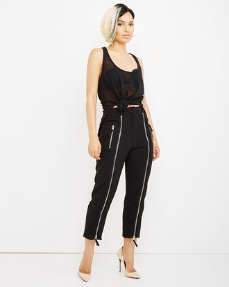 pants zippered pants black black pants trouser pants