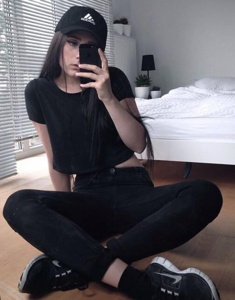 jeans hat top black crop top adidas nike cap nike cap adidas cap black adidas cap black nike cap grunge tumblr black white fashion style black cap white cap