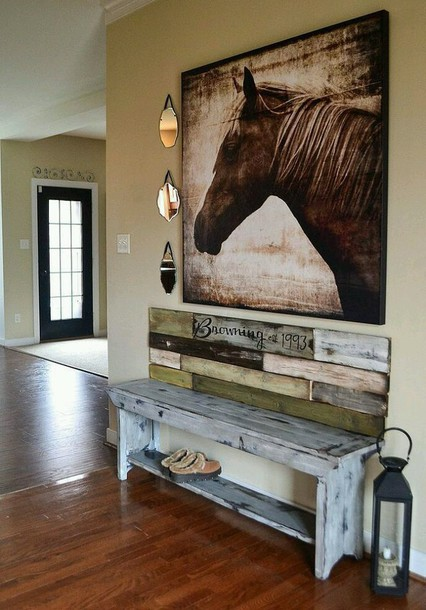 home accessory frame rustic horse painting cozy