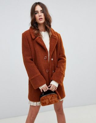 Fashion Union Single Breasted Coat In Teddy at asos.com