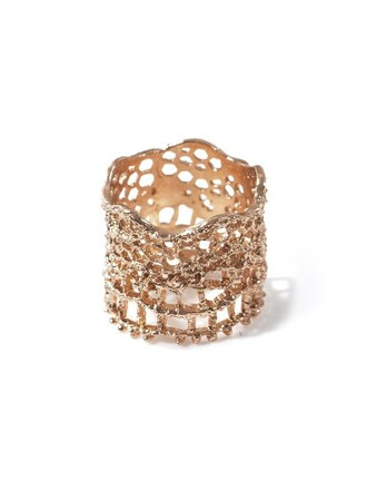 rose gold rose ring lace gold jewels