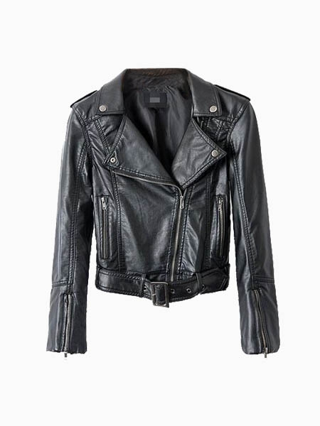 Black Leather Biker Jacket | Choies