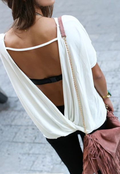shirt backless top backless top white top summer top bag pink bag fringed bag pants black pants