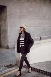 seams for a desire,blogger,coat,sweater,jeans,shoes,hat,bag,sunglasses,beanie,winter outfits,pumps,striped sweater