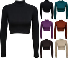 New Womens Turtle Neck Crop Ladies Long Sleeve Plain Polo Short Stretch Top 8-14 | eBay