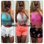 top,ikandi boutique,tassel,bra,bralette,lace top,crochet top,crochet,lace,pink,blue,white,bandeau,bikini,bustier,corset top,sexy top,sexy,plunge v neck,v neck,summer,holidays,outfit,style,cute,trendy swimwear,trendy,fashion,tassel top,pink top,blue top,white top