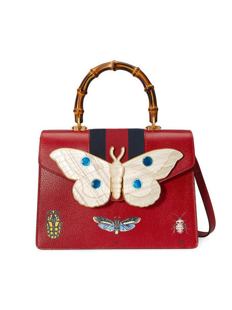 gucci women bag leather silk red