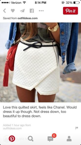 skirt quilted asymmetrical skirt white skirt