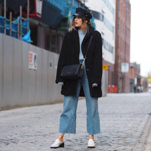 coat hat tumblr black coat teddy bear coat fuzzy coat denim jeans blue jeans shoes fisherman cap bag