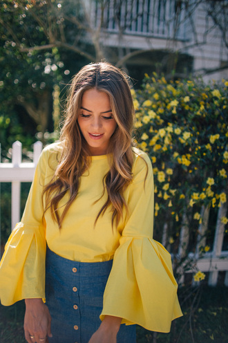 blouse yellow top yellow bell sleeves skirt blue skirt denim skirt button up denim skirt button up skirt spring outfits