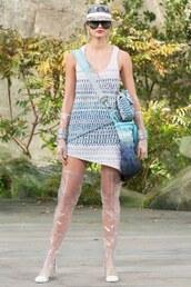 dress,asymmetrical,boots,chanel,Taylor hill,model,Paris Fashion Week 2017,runway,see through,bag