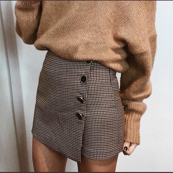 skirt brown grey large buttons tartan plaid plaid skirt