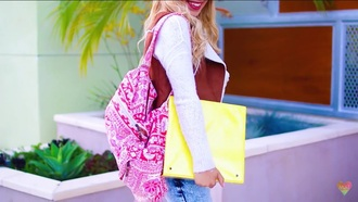 bag backpack pink bag white bag