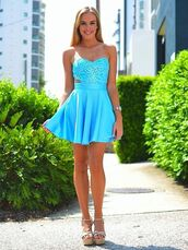 dress,blue,aqua,embroidered,colorful,short,blonde hair,cali,socal
