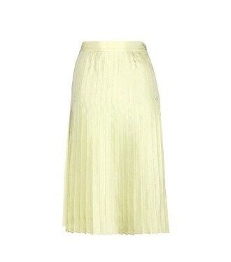 skirt pleated skirt pleated silk green