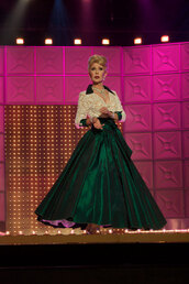 dress,chad micheals,green dress,white dress,lace dress,50s style vintage dress,60s style,glamour,drag race