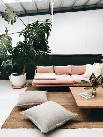 home accessory rug plants tumblr home decor furniture home furniture living room pink pillow sofa