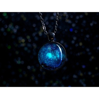 hair accessory mistic jewerly necklace jewels glow in the dark glow necklace necklace fashion tumblr galaxy print space nebula
