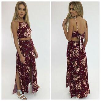 jumpsuit burgundy maroon jumpsuit floral maroon floral floral set floral maxi skirt peppermayo