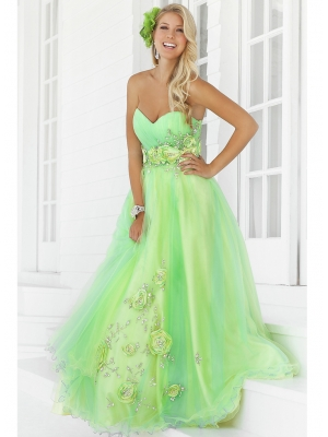 Buy Unique Green Tulle Sweetheart Neckline Flowers Ball Gown Prom Dress  under 300-SinoAnt.com