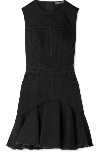 Alexander McQueen - Frayed Denim Mini Dress - Black