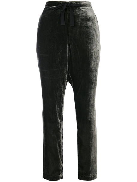Bellerose - velvet drawstring trousers - women - Viscose/Polyamide/Cotton - 3, Green, Viscose/Polyamide/Cotton