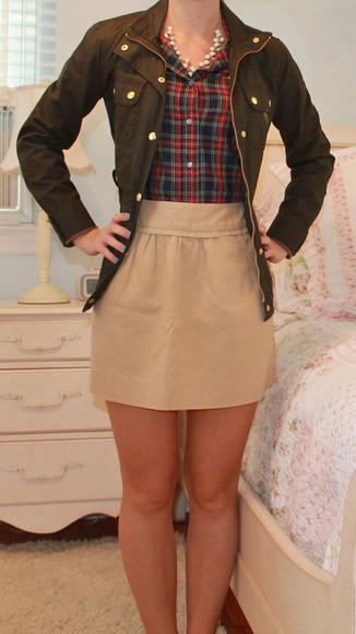 skirt beige skirt beige plaid short skirt