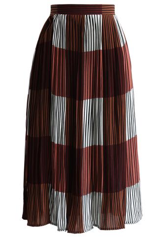 skirt stripe this way pleated midi skirt in wine chicwish pleated skirt midi skirt midi rings hand jewelry