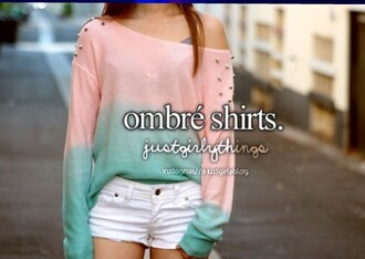 blouse t-shirt shirt green turquoise sequel ombre pink pastel